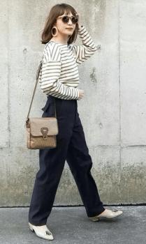 ボーダーTシャツ×ミュールサンダル×ベイカーパンツのレディースの春コーデ