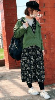 ミリタリージャケット×キャスケット×ロングシャツワンピースのコーデ(春編)