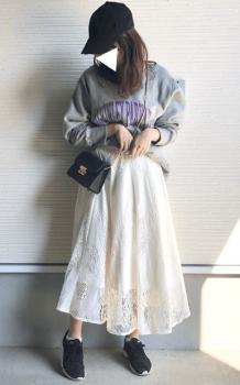 プリントトレーナー×フレアレーススカート×ミニショルダーバッグのレディースのコーデ(春編)