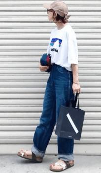 ベージュのキャップ×Tシャツ×ワイドデニムパンツ