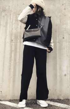 黒のスタジャン×黒のワイドパンツ