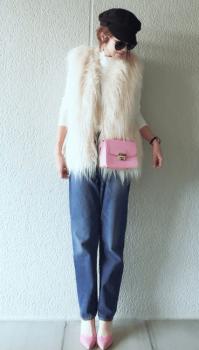 七分袖カットソー×デニムパンツ×パンプス×バッグ