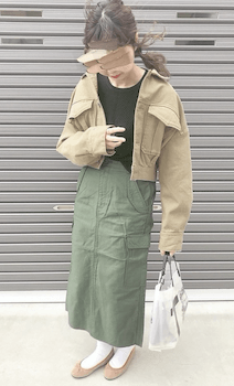 Gジャン・デニムジャケット×ベイカースカート