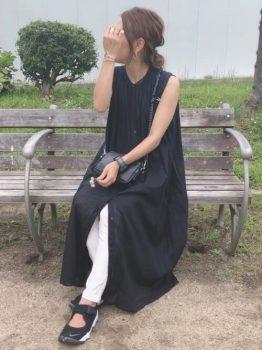 ノースリーブワンピ×白スキニーの夏のマタニティコーデ