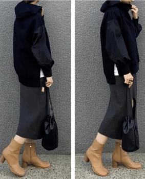 黒のパーカー×タイトスカート×ブーツ