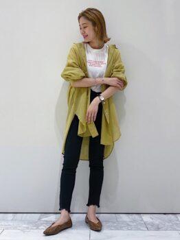 Tシャツ×シャツ×デニムパンツ×チャイナシューズ