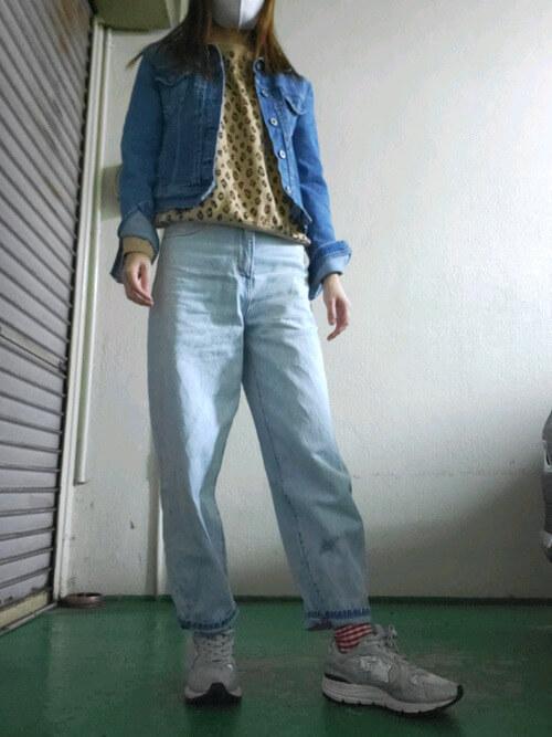 アトランティックスターズのスニーカー×レオパード柄のスエット×デニムジャケット×デニムパンツ
