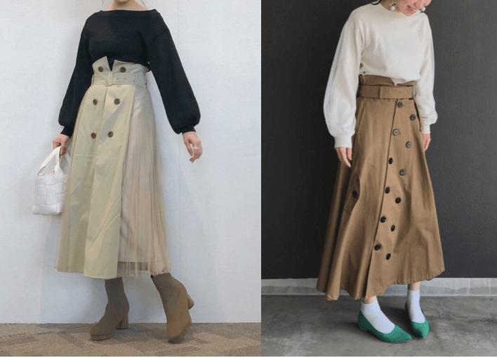 トレンチスカートの着こなし方:ボリュームトップスで決めすぎないシルエット!