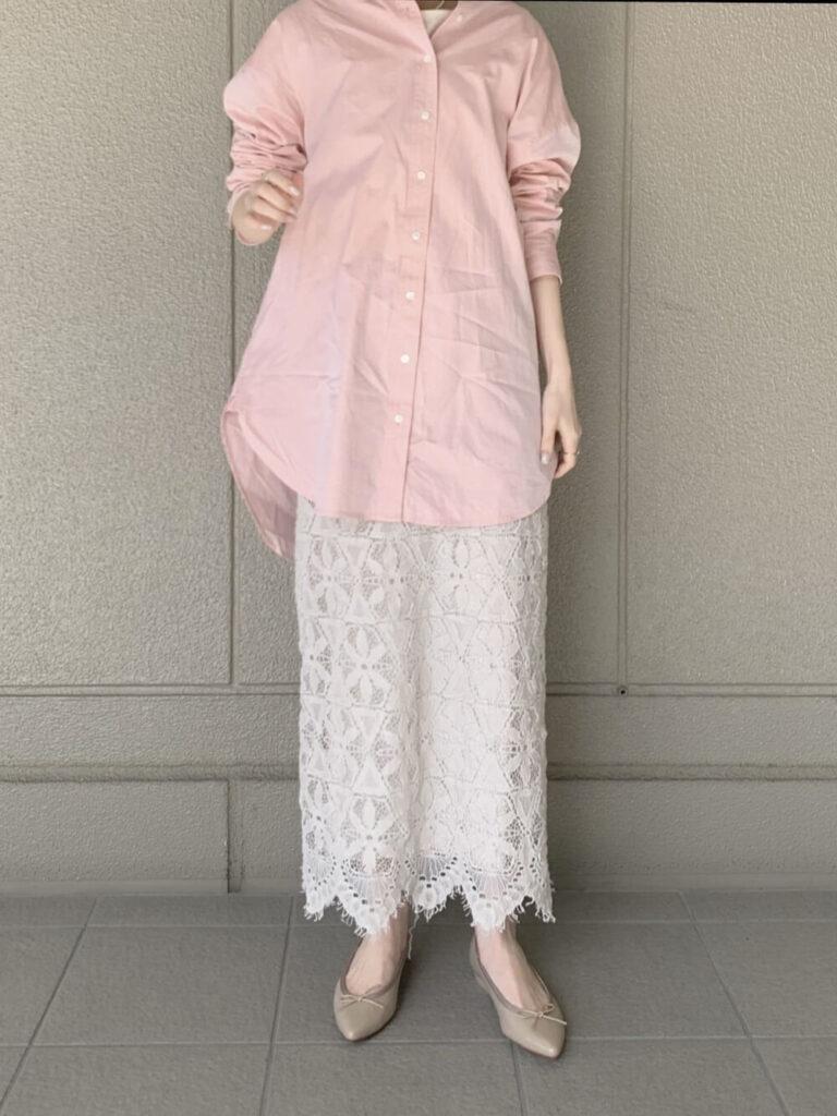 白のレーススカート×シャツ×バレエシューズ