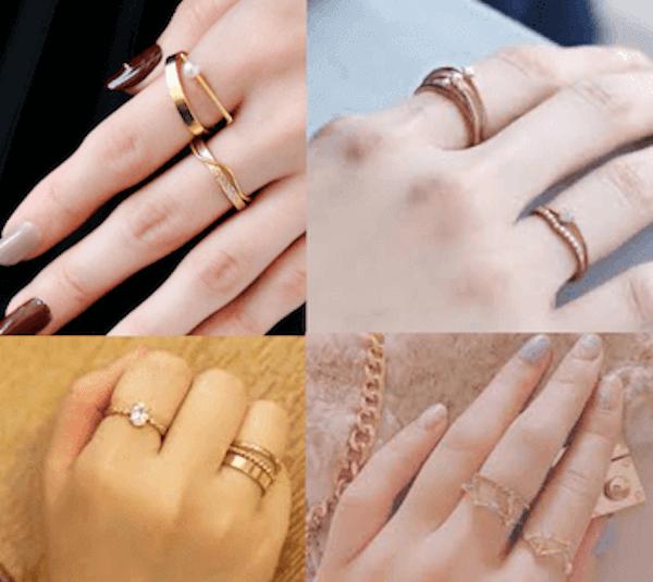 指輪のおしゃれな重ね付け方法:指の位置はどこでもOK
