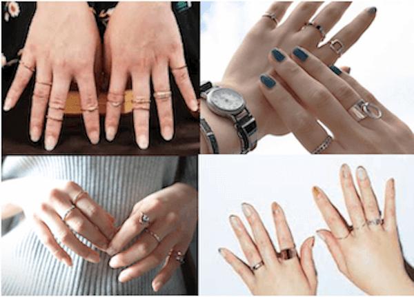 指輪のおしゃれな重ね付け方法:左右の指にはアシメが◎