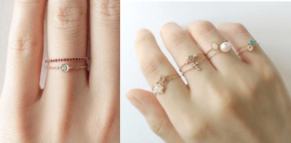 指輪のおしゃれな重ね付け方法:華奢な指輪やチェーンリングを2つ重ね付け
