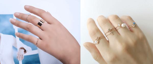 指輪のおしゃれな重ね付け方法:ファランジリングを活用