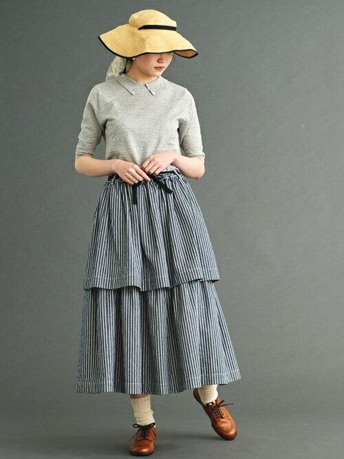 2段スカート×ローファー
