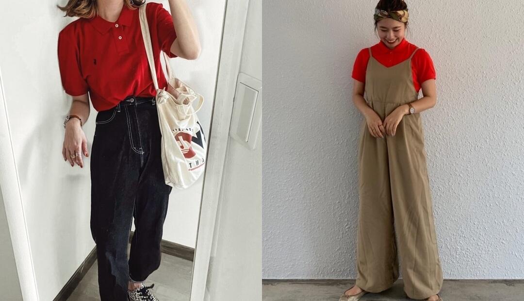 赤ポロシャツのレディースコーデ