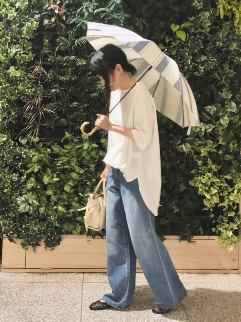 ストライプ柄の日傘