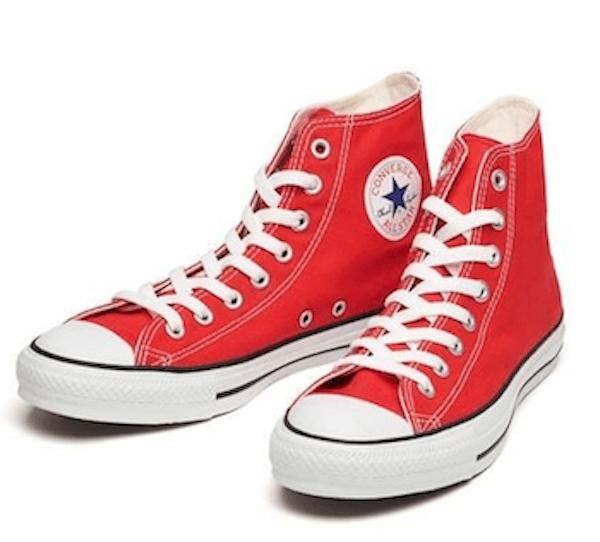 脱色で簡単リメイクしたコンバースの画像:赤→ピンク