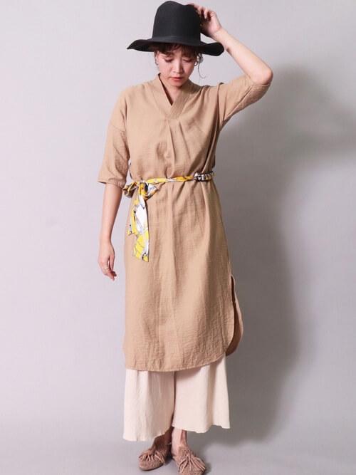 バンダナ・スカーフのアレンジコーデ:ベルト風