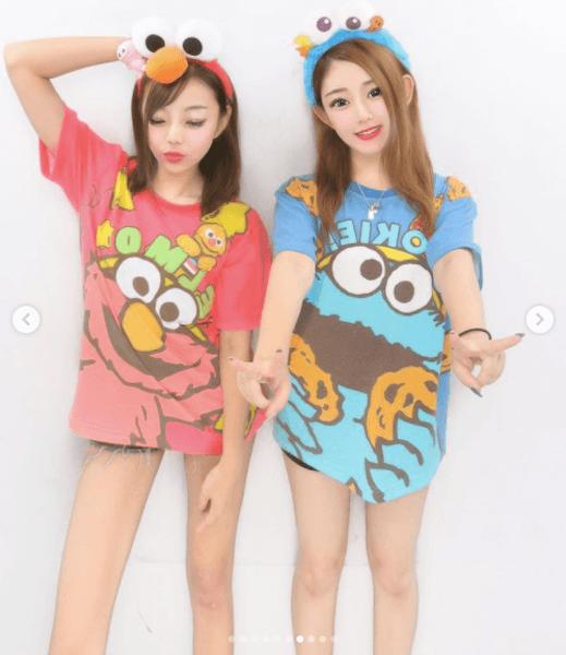 ユニバ双子コーデ:エルモ&クッキーモンスター