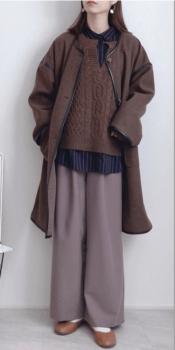 ネイビーシャツ×ノーカラーコート×キーネックのニット×ワイドパンツ