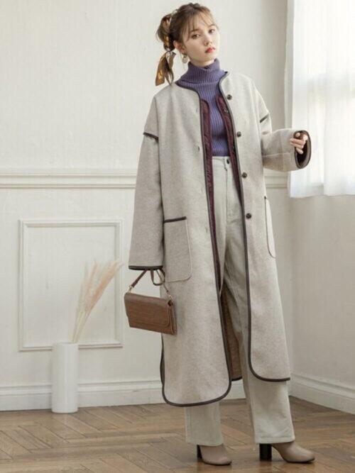 ワイドパンツの秋冬の着こなし方:ロング丈でメリハリを!