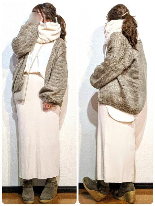 カーディガン×スカート