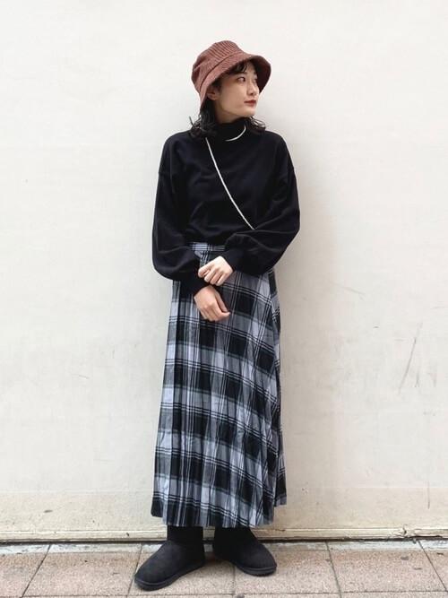 ニット×ロングスカート