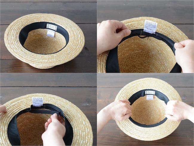 100均や自宅にあるアイテムを使った帽子が風で飛ばない方法:サイズ調整テープ・隙間テープ