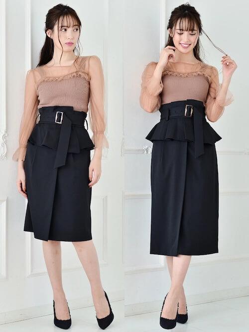 コルセットスカートのおしゃれな着こなし方:きれいめタイト
