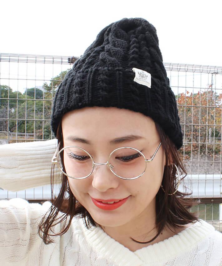 丸顔×ニット帽