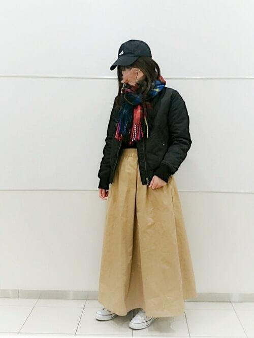 チェック柄ストール×スカート