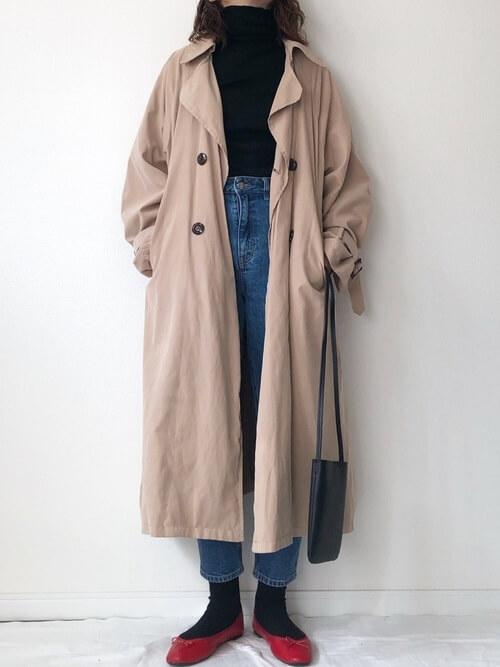 春のトレンチコートはいつから着る?:2月(6度〜10度)厚手のインナー