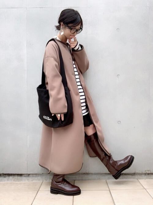 ロングコート×スカート