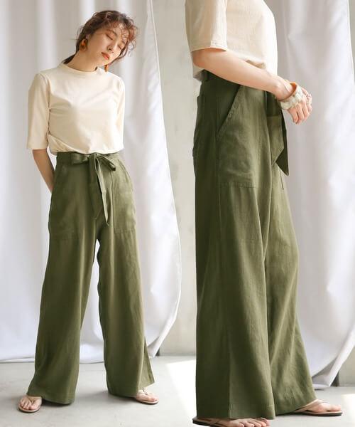 基本のワイドパンツの着こなし方:体型カバー+脚長効果を狙うならハイウエストのワイドパンツ!
