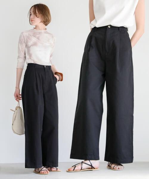 基本のワイドパンツの着こなし方:基本はロング丈が鉄板!