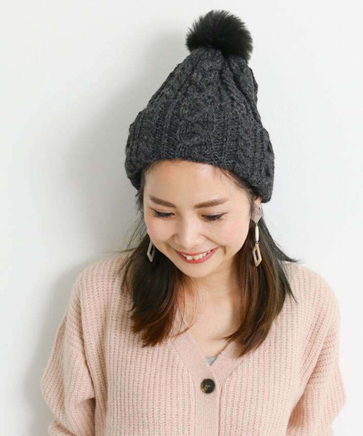 四角顔×ニット帽