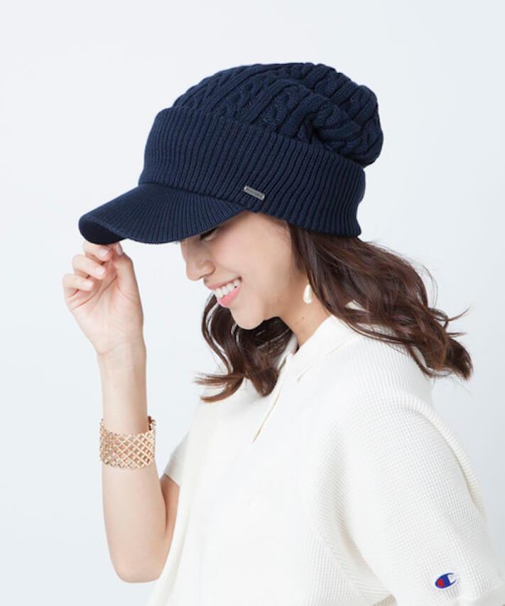 面長×ニット帽