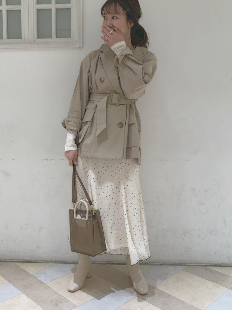 サファリジャケット×シアードットフレアスカート×ブーツ
