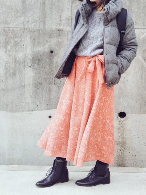 フレアスカート×ブーツ