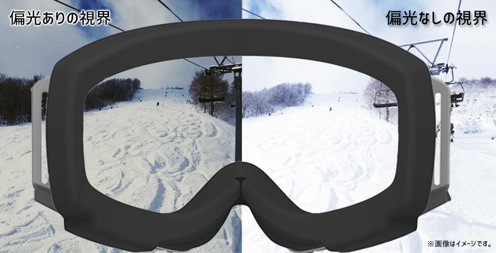 スノーボード用ゴーグルの選び方:偏向レンズ